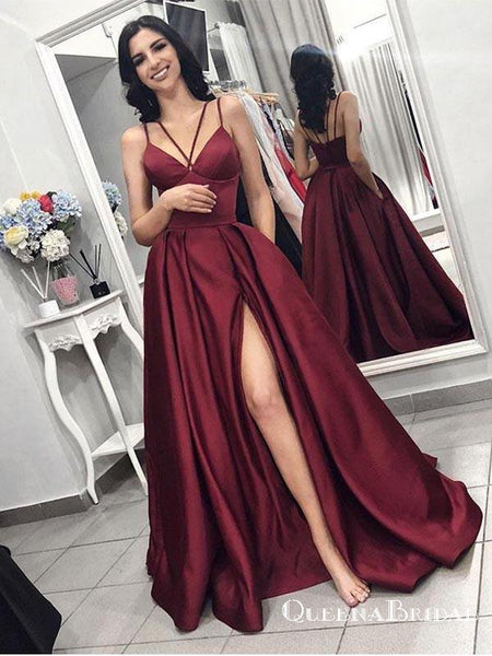 2019 Maroon Spaghetti Straps Side Slit Long Evening Prom Dresses, QB0407