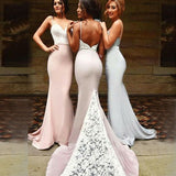 Sexy Mermaid Spaghetti Strap Long Cheap Bridesmaid Dresses With White Lace, QB0148