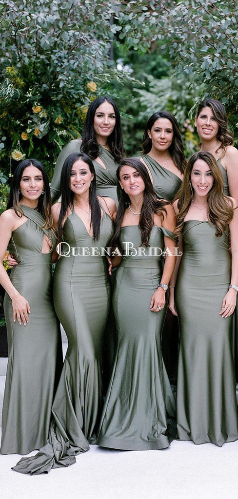 Mismatched Long Cheap Mermaid Bridesmaid Dresses, BDS0111