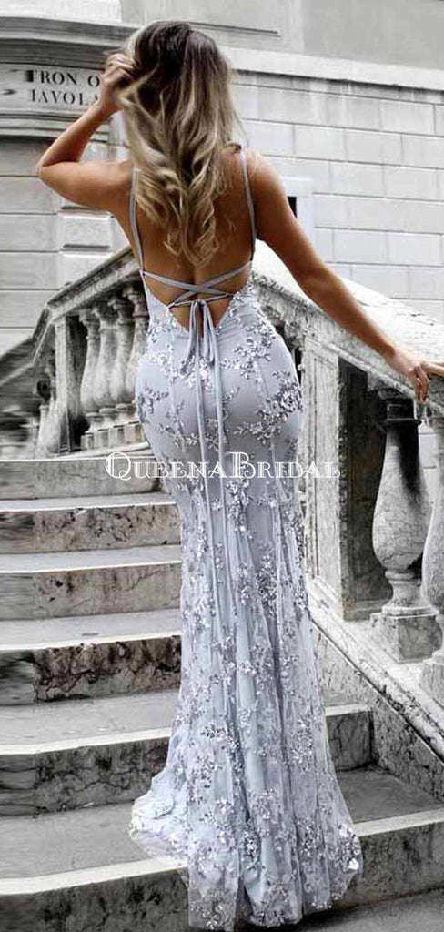 V-neck Spaghetti Strap Sexy Lace Mermaid Prom Dresses with Sequin, QB0279