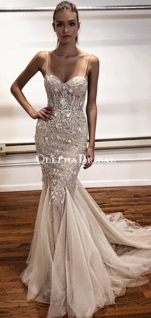 Elegant Spaghetti Strap Lace Appliqued Mermaid Long Cheap Prom Dresses, PDS0089