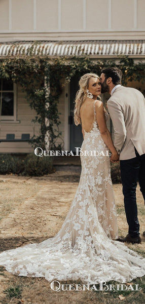 Newest V-neck Champagne Lace Mermaid Long Cheap Wedding Dresses, WDS0025
