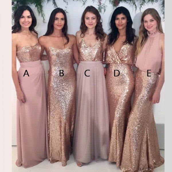 Mismatched Sweetheart Blush Pink Chiffon Bridesmaid Dresses with Sequins, QB0158