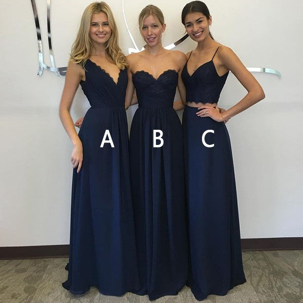 a813d2509cb Mismatched Navy Blue Long Cheap Chiffon Bridesmaid Dresses Online ...