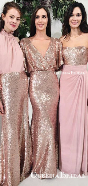 Mismatched Rose Gold Sequin Mermiad Long Cheap Bridesmaid Dresses, BDS0052