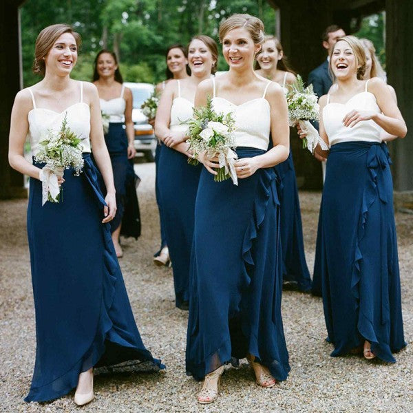 Spaghetti Straps Navy Blue Chiffon Long Cheap Bridesmaid Dresses with Ruffles, QB0014