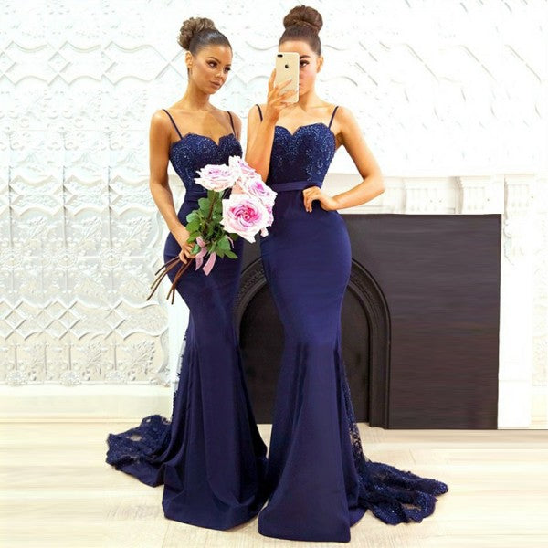 7d6b34c3ad0 Mermaid Spaghetti Straps Lace Satin Navy Blue Long Cheap Bridesmaid Dresses  Online
