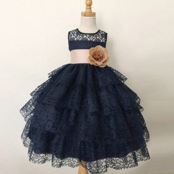 b90211a9263 Cute Ball Gown Jewel Navy Blue Lace Flower Girl Dresses with Handmade  Flowers