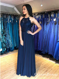A-Line Jewel Open Back Blue Long Cheap Prom Dresses with Lace, QB0793