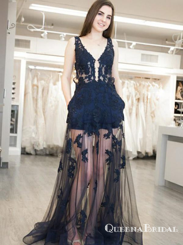 Sheath V-Neck Navy Blue Long Prom Dresses with Appliques&Pockets, QB0510