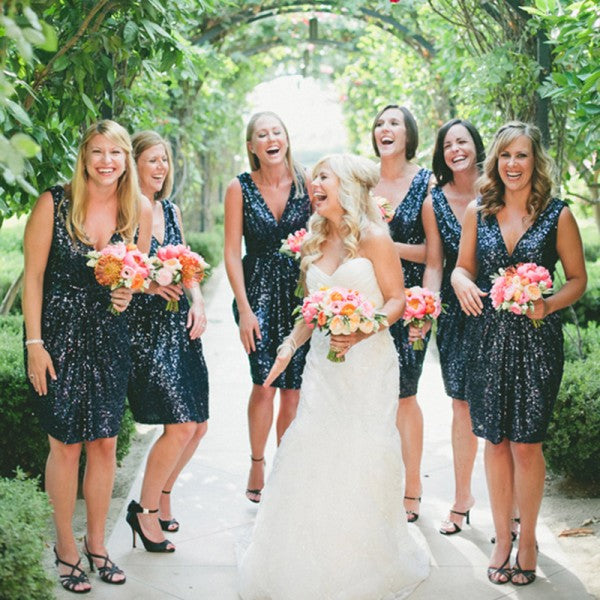 Sexy Deep V-Neck Navy Blue Sequin Short Cheap Bridesmaid Dresses Online, QB0139