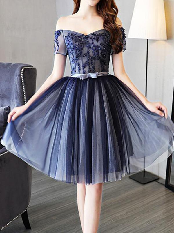 Cheap Off Shoulder Short Sleeve Navy Homecoming Dresses 2018, CM456