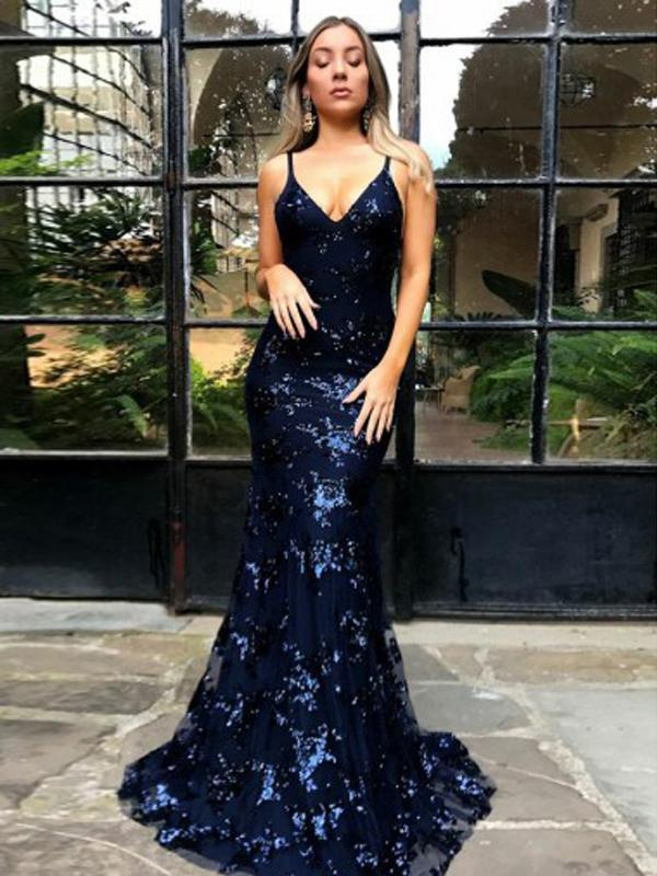 2019 Sparkly Backless Navy Sequin Mermaid Long Evening Prom Dresses, QB0450