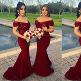 Off Shoulder Burgundy Long Mermaid Bridesmaid Dresses Online, WG248