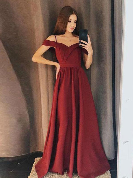 Burgundy Side Slit Spaghetti Straps Simple Long Evening Prom Dresses Qb0417