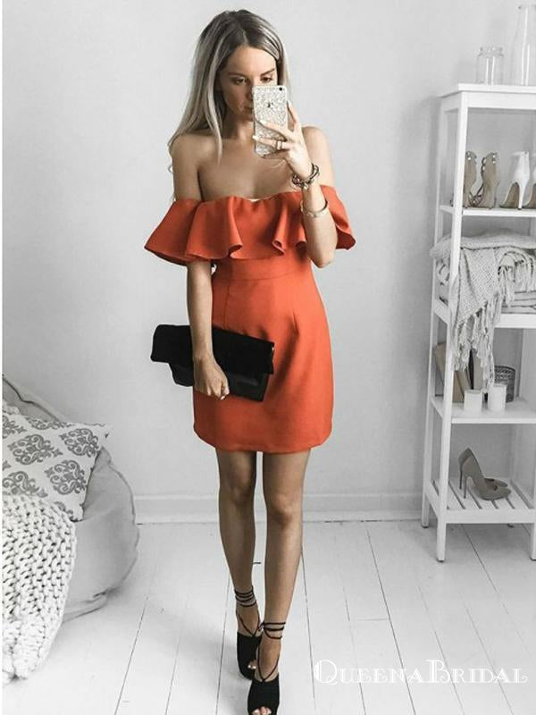 A-Line Off-the-Shoulder Short Orange Satin Cheap Homecoming Dresses with Ruffles, QB0903