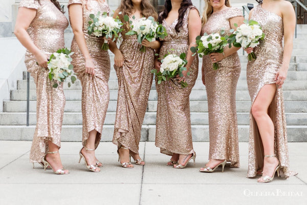 Mismatched Sparkly Champagne Sequin Long Cheap Bridesmaid Dresses, BDS0086