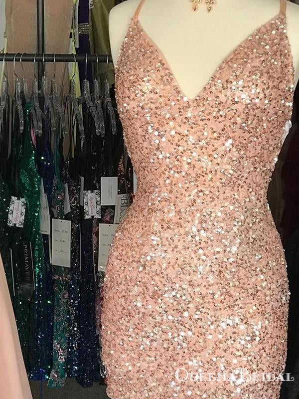 2021 Newest Tight Sparkle Peach Sequins Homecoming Dresses, QB0886