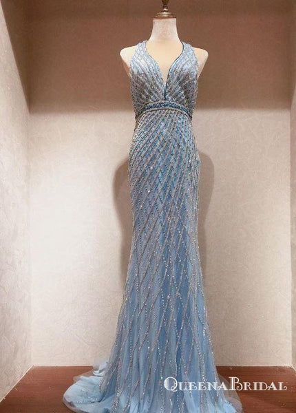 Shining Deep V Neck Long Heavy Beaded Long Evening Prom Dresses, QB0619