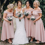 Pink Off Shoulder Sleeveless A Line High Low Satin Bridesmaid Dresses, QB0727