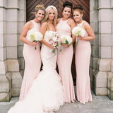 Mermaid Round Neck Long Cheap Pink Satin Bridesmaid Dresses Online, QB0118
