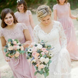 A-Line Round Neck Cap Sleeves Pink Chiffon Bridesmaid Dresses with Lace, QB0841