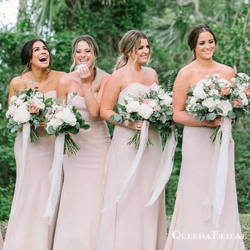Sweetheart Pink Chiffon Long Cheap Bridesmaid Dresses with Tie Back, QB0876
