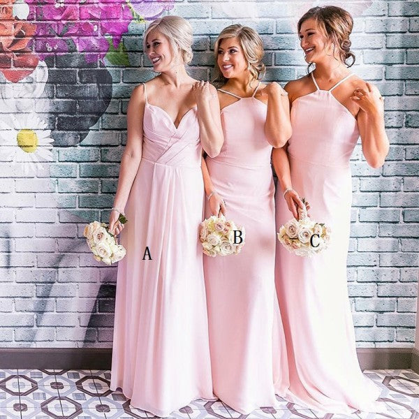 Mismatched Spaghetti Straps Long Pink Chiffon Cheap Bridesmaid Dresses Online, QB0010
