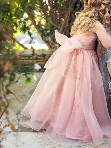 Floor Length Cute Pink Tulle Flower Girl Dresses with Bow Knot, QB0357