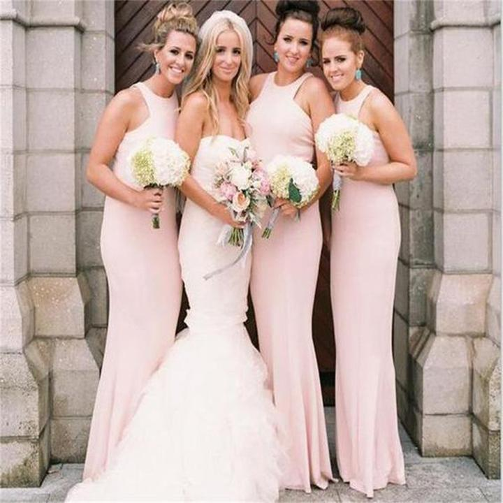 Tight Mermaid Halter Backless Pink Long Cheap Bridesmaid Dresses with Lace, QB0020