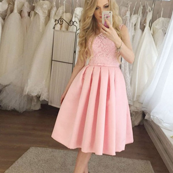 Pretty Round Neck Short Cheap Pink Homecoming Dresses with Lace, QB0219