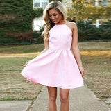 Simple Halter Strap Backless Short Cheap Pink Satin Homecoming Dresses, QB0184