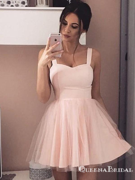 Simple A-Line Straps Short Cheap Pink Tulle Homecoming Dresses, QB0063