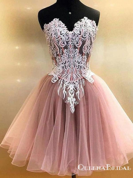 Cute Sweetheart Sleeveless Short Tulle Homecoming Dresses With Applique, QB0885