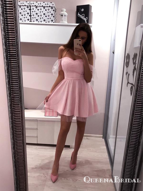 Cute A-Line Off the Shoulder Pink Tulle Short Homecoming Dresses, QB0863