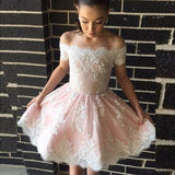 Pretty Off-Shoulder Lace Appliques Short Cheap Pink Homecoming Dresses, QB0069