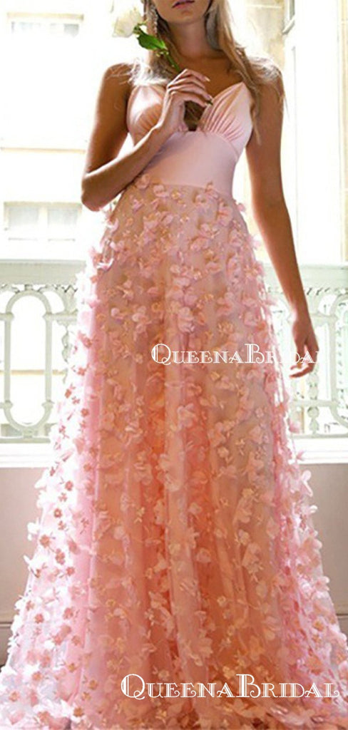 Spaghetti Straps V-neck Pink Lace New Arrival Hot Selling A-line Long Cheap Evening Prom Dresses, QB0980