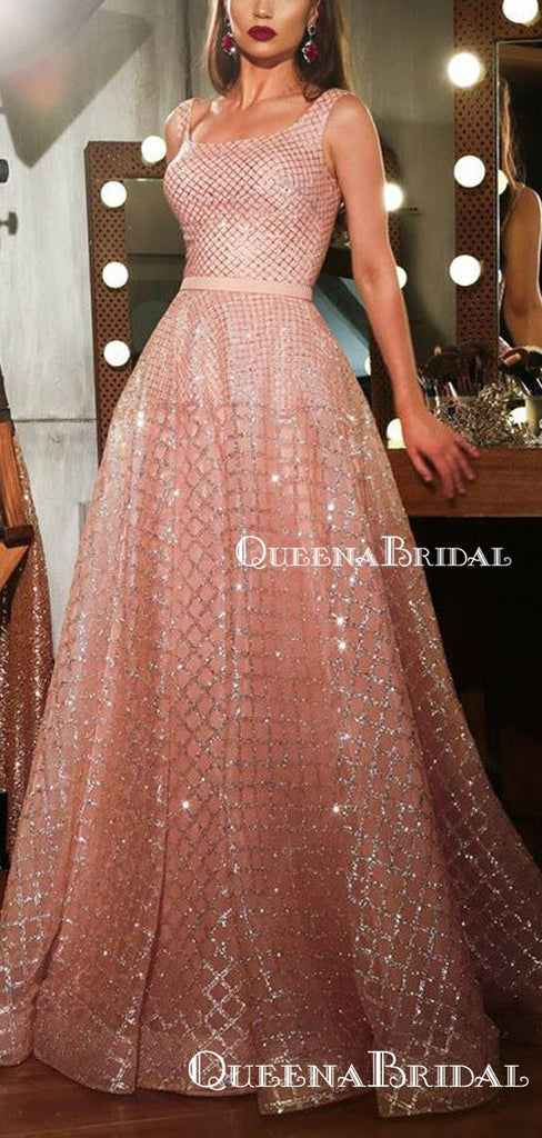 New Arrival Square Neckline Sleeveless Sparkly Pink Sequin A-line Long Cheap Evening Prom Dresses, QB0974