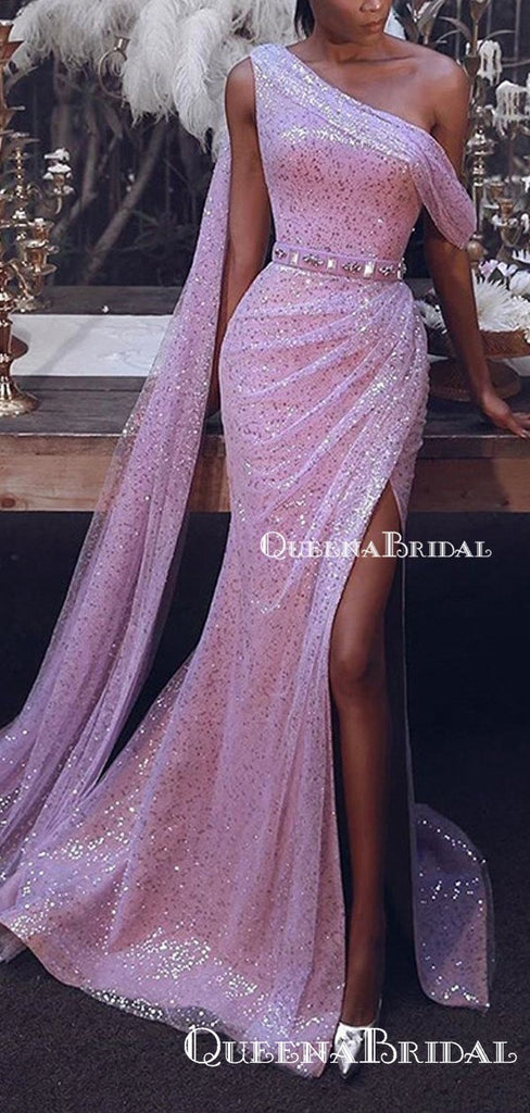 Gogerous One Shoulder Sparkly Pink Sequin Charming Long Cheap  Formal Evening Prom Dresses, QB0965