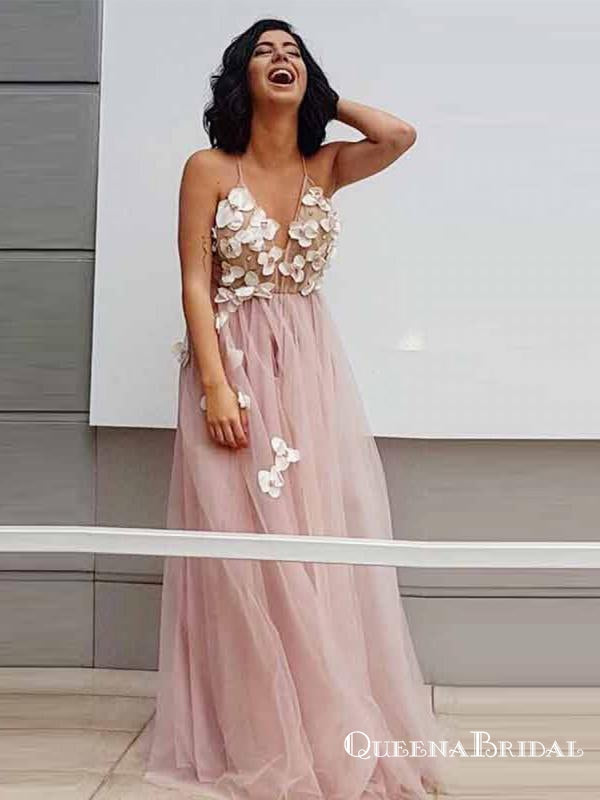 A-Line Spaghetti Straps Long Pink Prom Dresses with Appliques, QB0535