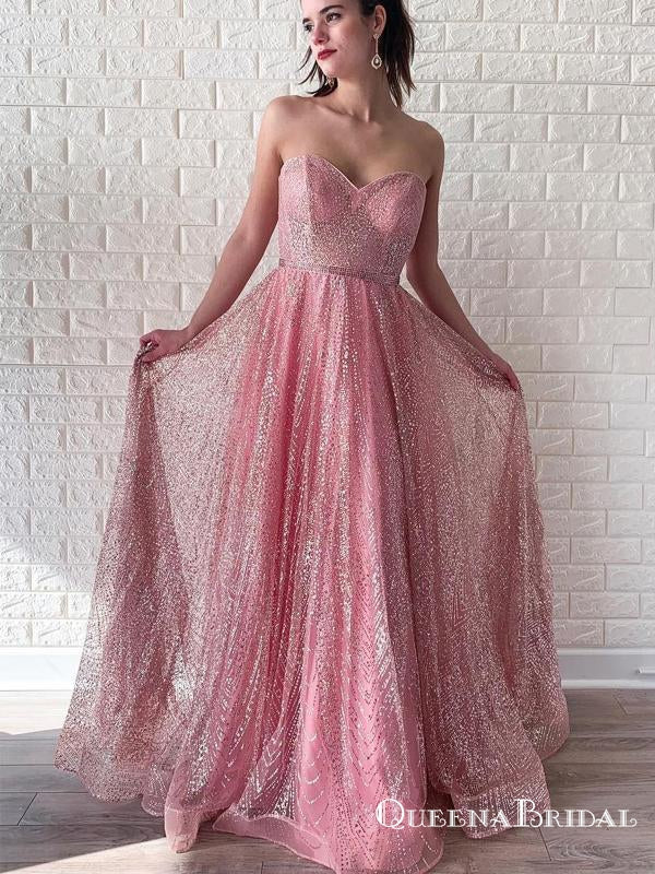 Sparkling A-line Pink  Sweetheart Long Cheap Prom Dresses, QB0763