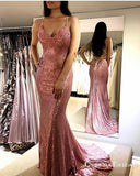 Sparkle Sequined Pink Mermaid Long Cheap Evening Prom Dresses, QB0665