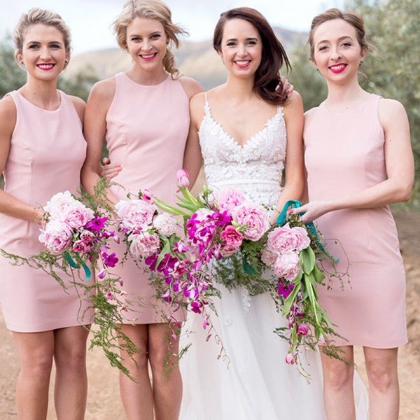 Tight Round Neck Sleeveless Pink Satin Short Cheap Bridesmaid Dresses Online, QB0035