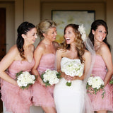 Sweetheart Sleeveless Pink Short Cheap Chiffon Bridesmaid Dresses with Handmade Flower, QB0135