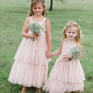 Cute square neck pink tulle long cheap flower girl dresses with handmade flower qb0108 cute square neck pink tulle long cheap flower girl dresses with handmade flower qb0108 mightylinksfo