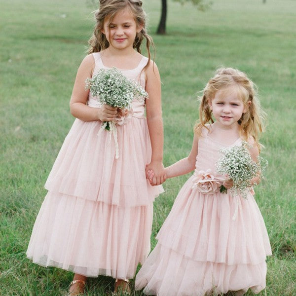 Cute Square Neck Pink Tulle Long Cheap Flower Girl Dresses with Handmade Flower, QB0108