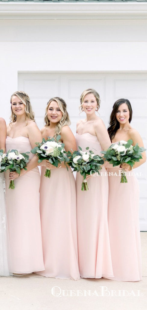 Simple Charming Sweetheart Pink Chiffon A-line Long Cheap Floor-Length Bridesmaid Dresses, BDS0033