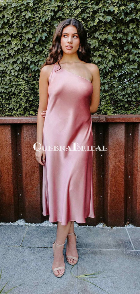 Simple One Shoulder Pink Elastic Silk Long Cheap Bridesmaid Dresses, BDS0125