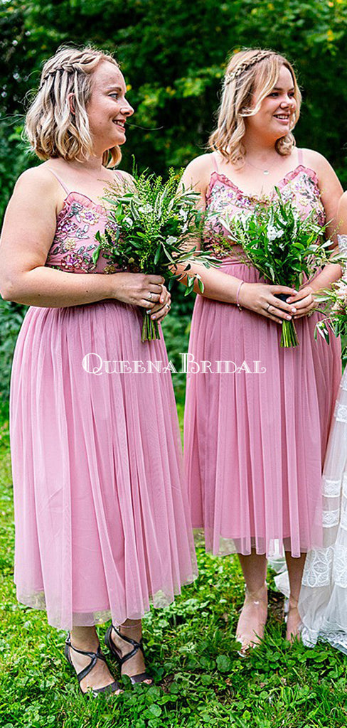 Spaghetti Strap Pink Tulle A-line Tea-Length Cheap Bridesmaid Dresses, BDS0130