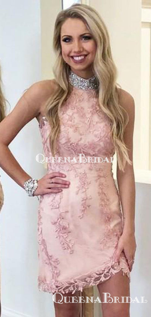 Elegant Halter Pink Lace Mermaid Short Cheap Party Homecoming Dresses, HDS0011